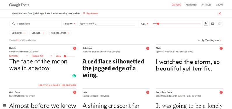 Google Fonts Web